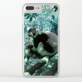 Black and White Ruffed Lemur in Turquoise Clear iPhone Case