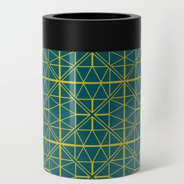 Emerald Green Triangles Pattern Can Cooler
