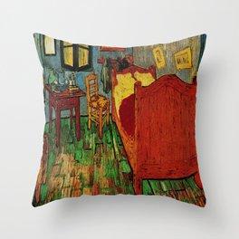Van Gogh, bedroom in arles– Van Gogh,Vincent Van Gogh,impressionist,post-impressionism,brushwork,pai Throw Pillow