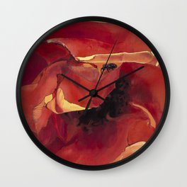 Bug On A Rose - Fire Orange Coral Wall Clock