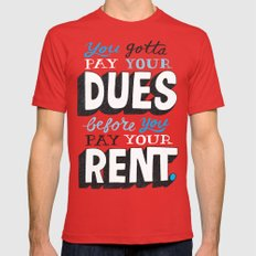 Dues Before Rent Red Mens Fitted Tee X-LARGE