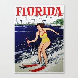 Vintage Florida Water Skiing Travel Canvas Print