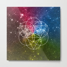 Seed of Life with Triangles - Sacred Geometry - Rainbow Colors - Galaxy Art - Universe - Yoga - Metal Print