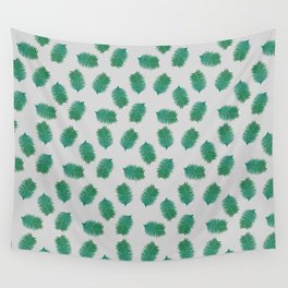 Turquoise leaves nature pattern Wall Tapestry