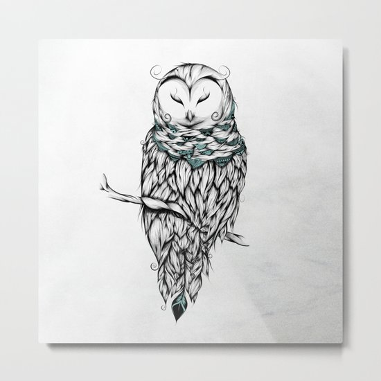 Poetic Snow Owl Metal Print