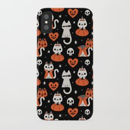 Halloween Kitties (Black) iPhone Case