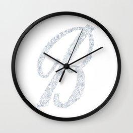 Letter B, Floral B, Monogram B Wall Clock