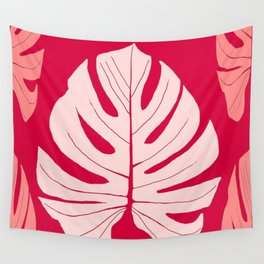 Large Monstera Leaves in Shades of Red on a Rasberry Red Background #decor #society6 #buyart Wall Tapestry