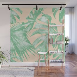 Tropical Leaves Palm Green on Citrus Wall Mural