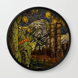 NYC Starry Night: Twin Towers (The True Towers) Wall Clock