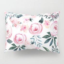 Floral Rose Watercolor Flower Pattern Pillow Sham