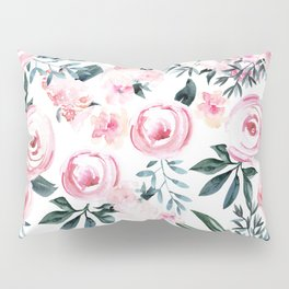 Floral Rose Watercolor Flower Pattern Pillow Sham