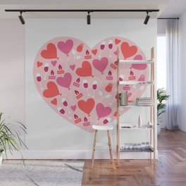 Valentines Day Heart #7 - Glass Wine Heart-Shaped Lock Wall Mural