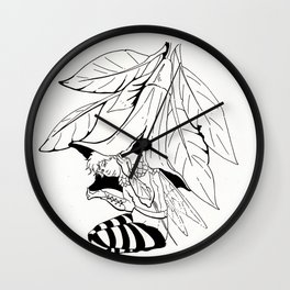 Fairy under angel trumpet - Lineart Wall Clock