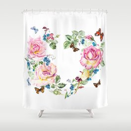 Watercolor Rose Heart Wreath Shower Curtain