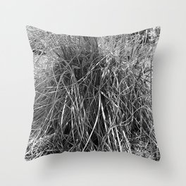 pampas grass leaves, black and white Throw Pillow