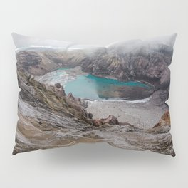 AERIAL PHOTOGRAPHY OF LAKE COVERED WITH FOGS Pillow Sham