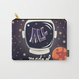 We are all made of stars, typography modern poster design with astronaut helmet and night sky Carry-All Pouch