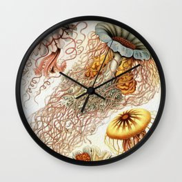 SEA CREATURES COLLAGE-Ernst Haeckel Wall Clock