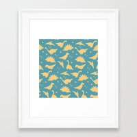 dinosaurs Framed Art Prints featuring Dinosaurs by Cyan Rose