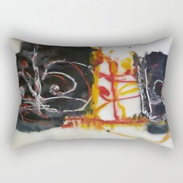 Tribute to Bangla Letters II - Mixed Media Beeswax Encaustic Abstract Modern Fine Art, 2015 Rectangular Pillow