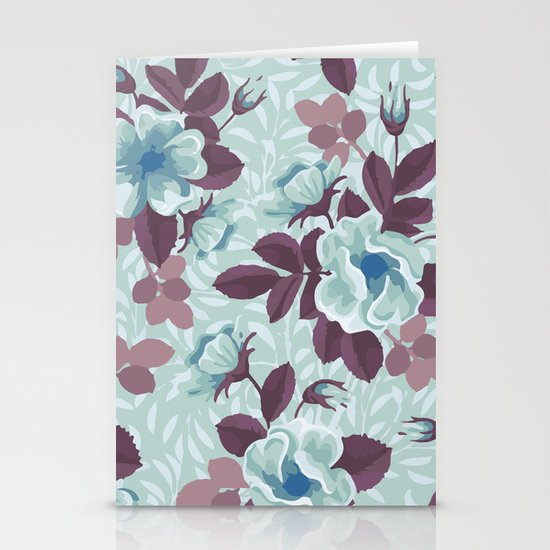 Retro Floral Pattern Stationery Cards