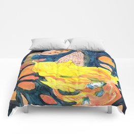 gold, Yellow and blue mermaid Comforters