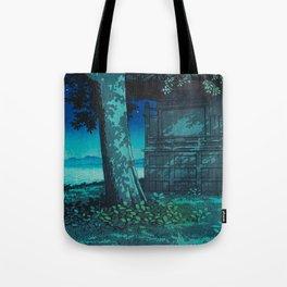 Kawase Hasui Vintage Japanese Woodblock Print Moonlight Shadows Under A Tall Tree Wooden Shrine Tote Bag