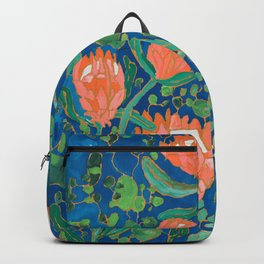 Coral Proteas on Blue Pattern Painting Backpack