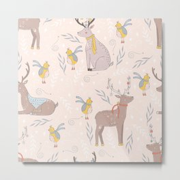 Christmas Deer and Bird Metal Print