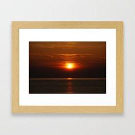 Bird Flying Into The Sunset Framed Art Print