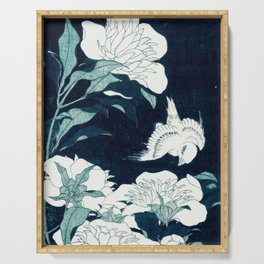 JAPANESE FLOWERS Midnight Blue Teal Serving Tray