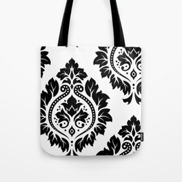 Decorative Damask Art I Black on White Tote Bag