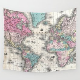 Vintage Map of The World (1852) Wall Tapestry