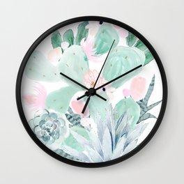 Pastel Cactus Floral Wall Clock