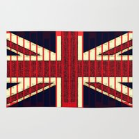 british flag Area & Throw Rugs featuring BRITISH FLAG by shannon's art space