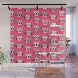Cute cat pattern in pink Wall Mural