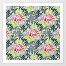 Kimono Bouquet Brocade Art Print