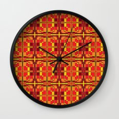 Red and Yellow Cross Pattern Wall Clock