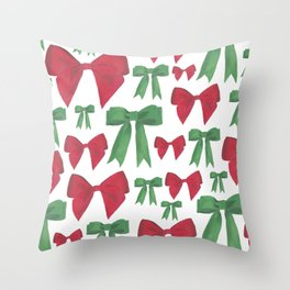 Festive Bows Throw Pillow