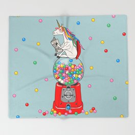 Unicorn Gumball Poop Throw Blanket