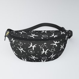 Black And White Pisces zodiac hand drawn pattern Fanny Pack