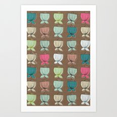 flower cups brown Art Print