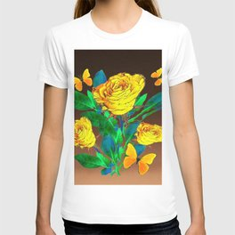 BROWN SHADES YELLOW SPRING ROSES & BUTTERFLIES T-shirt