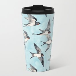 Blue Sky Swallow Flight Travel Mug