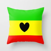 rasta Throw Pillows featuring Love Rasta  by shannon's art space