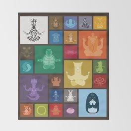 Animal Zen patchwork Throw Blanket