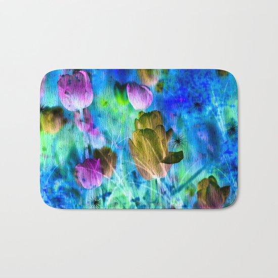Blue Ocean of Tulips Bath Mat