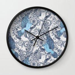 Flight of Fancy - navy, blue, grey Wall Clock