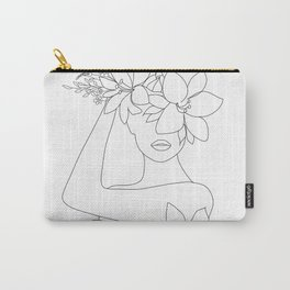 Minimal Line Art Woman with Flowers VI Carry-All Pouch